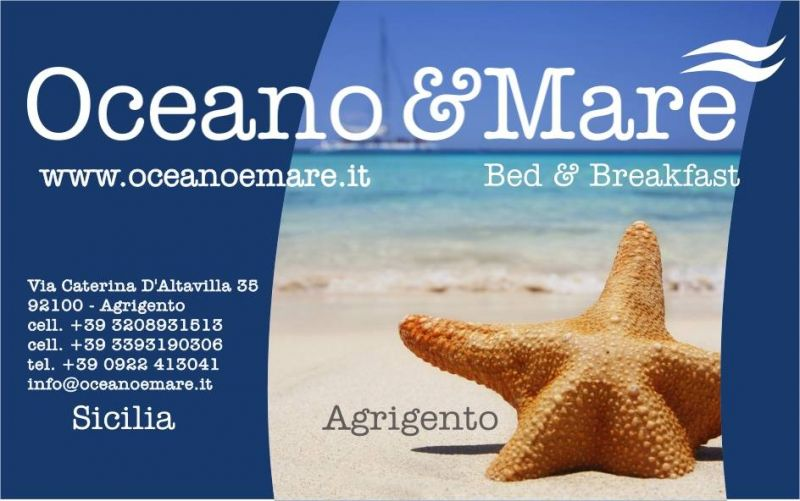 Bed and Breakfast Oceano&Mare a pochi passi dalle spiagge dorate e sabbiose di Agrigento e vicinissimo alla Valle dei Templi